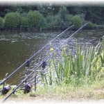 Fishing at Betineuc lake near our gite in Brittany